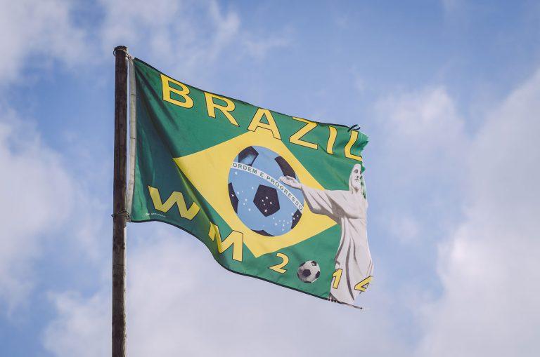 WM 2014 Fahne von Brasilien in Brasilien (Schönberg, Schleswig-Holstein)
