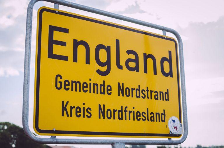Ortseingangsschild von England (Nordstrand, Schleswig-Holstein)