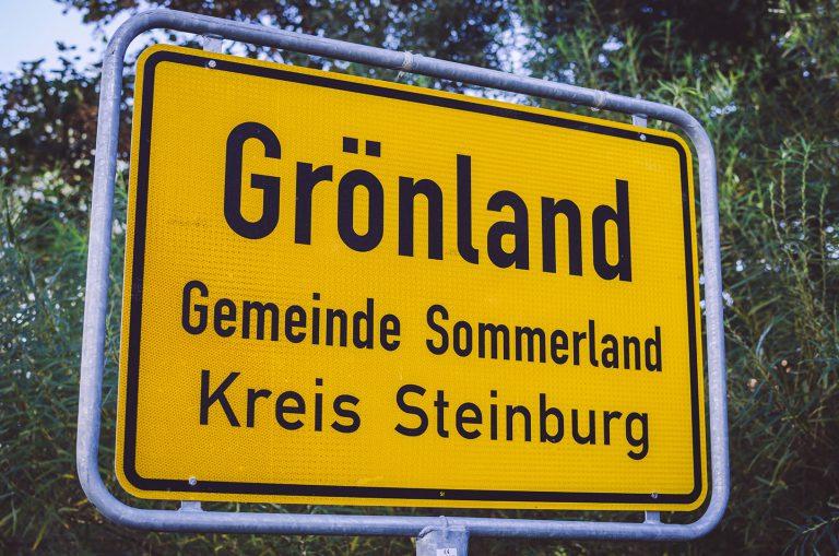 Ortsschild von Grönland (Sommerland, Schleswig-Holstein)