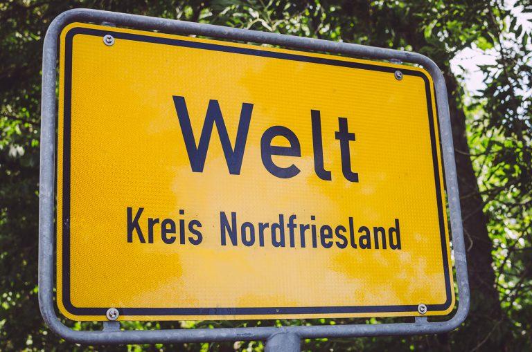 Ortsschild von Welt (Nordfriesland, Schleswig-Holstein)