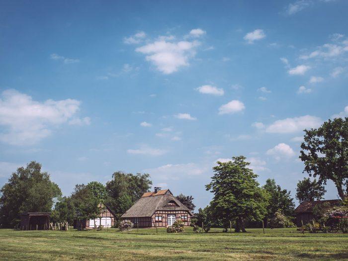 Landschaft mit Haus in Harrierwurp (Brake, Niedersachsen)