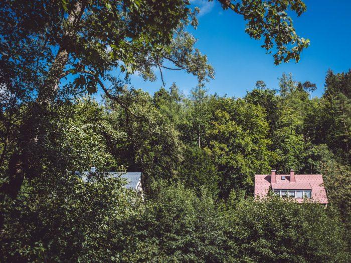 Häuser im Wald in Hölle (Naila, Bayern)