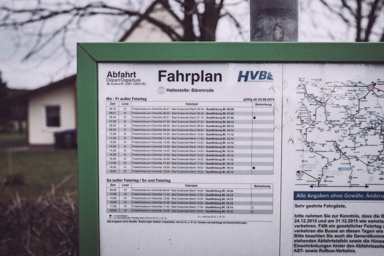Busfahrplan in Bärenrode (Güntersberge, Harz, Sachsen-Anhalt)