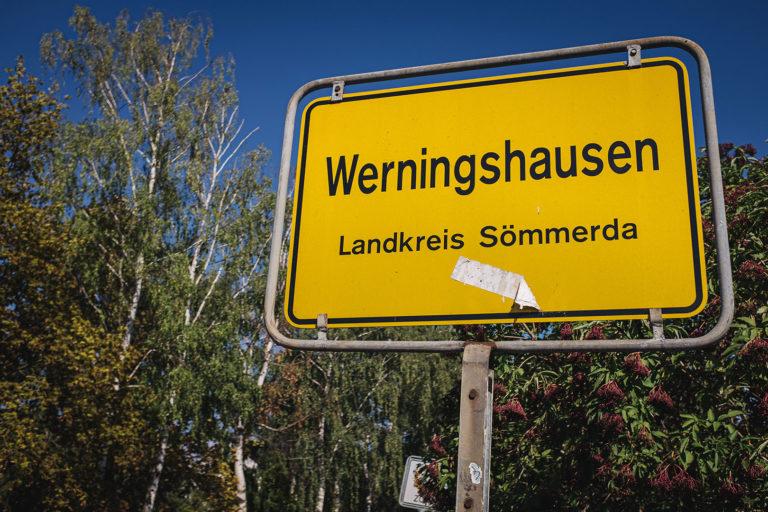Ortsschild Werningshausen (Sömmerda, Thüringen)